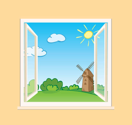 green summer nature and old mill behind open window - vector illustration Banque d'images - 153107025