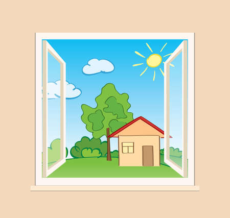 green nature and house behind open window - vector summer illustration