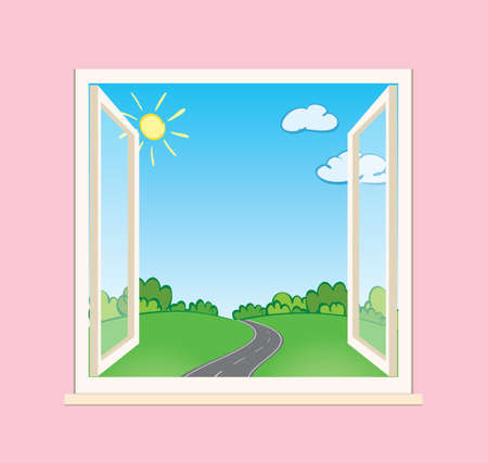 asphalt road and green nature behind open window - vector illustration Vettoriali