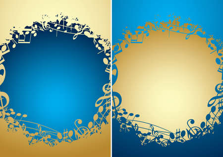 music backgrounds with musical notes and gradient - vector golden and blue frames