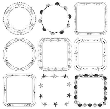 ornamental frames with fish and seashells - vector marine set Vettoriali