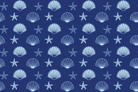 dark blue seamless pattern with seashells and starfish - vector background
