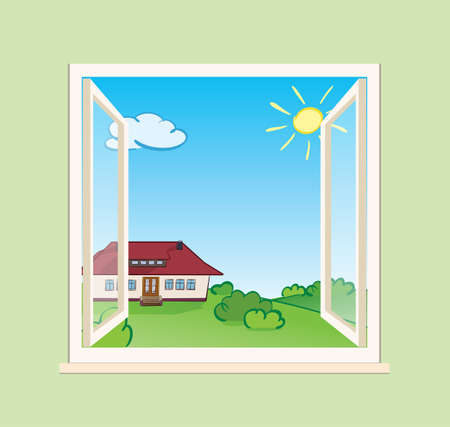 beautiful house and green summer nature behind open window - vector illustration