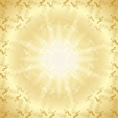 golden vector decorative music background with radial gradient and central light rays