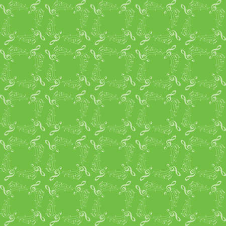 light green background with music notes - vector decorative musical seamless pattern Vettoriali