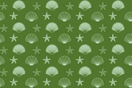 green seamless pattern with seashells and starfish - vector background Vettoriali