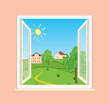 green hills and houses behind open window - vector illustration Vettoriali