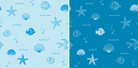 abstract blue seamless patterns with seashells and starfish and fish - vector backgrounds