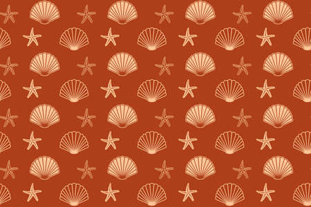 brown seamless pattern with seashells and starfish - vector background Vettoriali