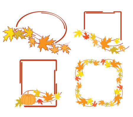 red frames with bright autumn leaves for fall season - vector set