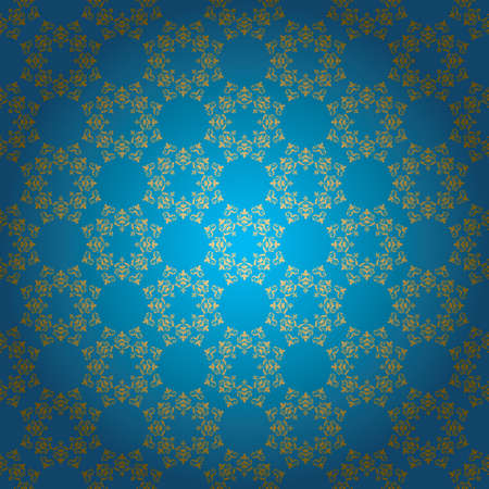 blue vector background with golden ornament