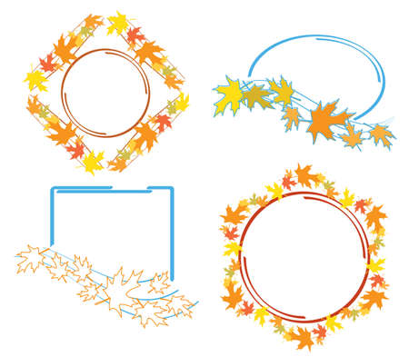 frames with bright autumn leaves for fall season - vector set Vettoriali