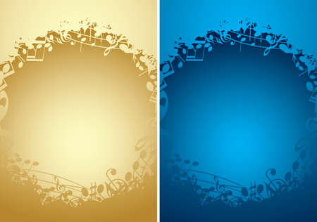 music backgrounds with musical notes in frames and gradient - vector golden and blue Vettoriali