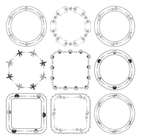 round and quadrate frames with fish and seashells and starfish - vector set