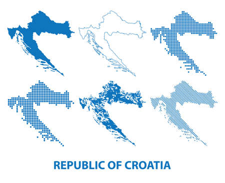 map of Republic of Croatia - vector set of silhouettes in different patterns