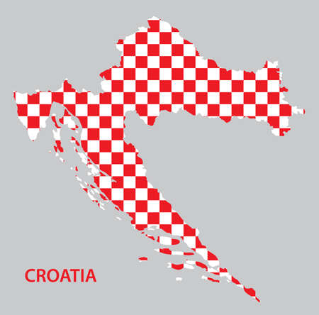 Republic of Croatia - vector map in red and white squares