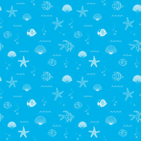decorative blue seamless pattern with seashells and fish - vector background