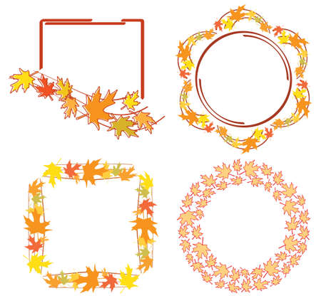 bright frames with leaves for autumn events - vector set
