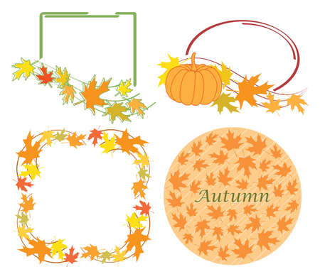bright design elements with leaves for autumn events - vector set