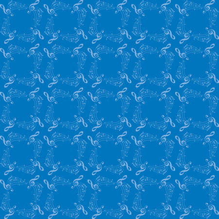 blue background with music notes - vector decorative musical seamless pattern