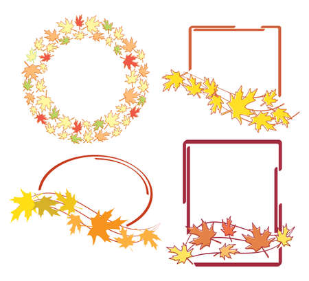 bright autumn leaves in decorative frames - vector set Vettoriali