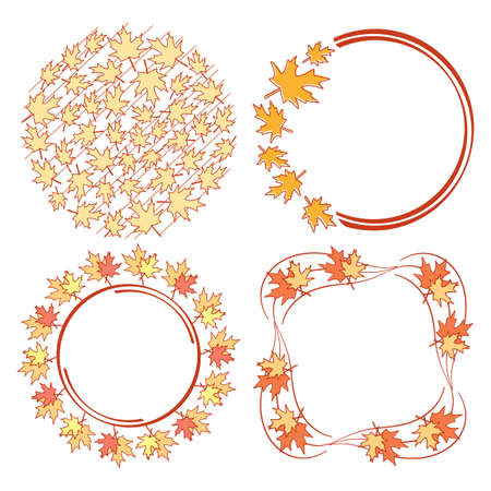 bright frames and elements with orange and red leaves for autumn events - vector set Vettoriali