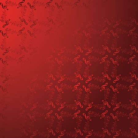 vector red music background with gradient - pattern with music notes