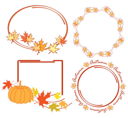 autumn leaves in bright decorative frames - vector set