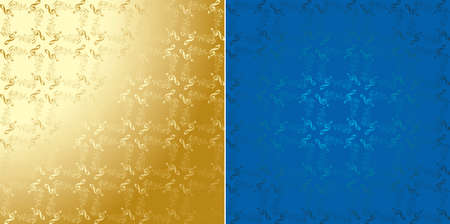golden and blue vector decorative musical backgrounds with gradient