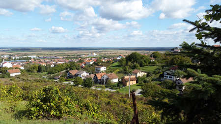 sunny autumn day. View to Slatina - town in Slavonia region of Croatia. Virovitica-Podravina County