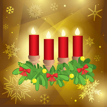 advent candles and fir branches on golden abstract background - vector illustration