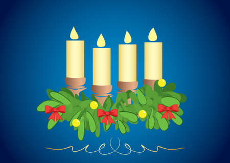 4 candles on blue background with gradient - vector illustration Vettoriali