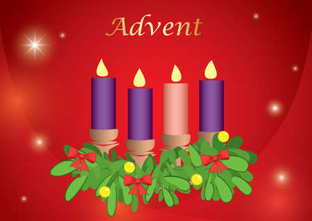 red background with 4 advent candles - vector illustration