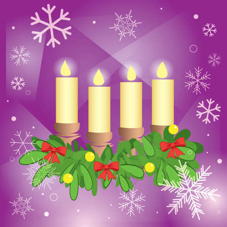 4 candles and fir branches on purple abstract background - vector illustration Vettoriali