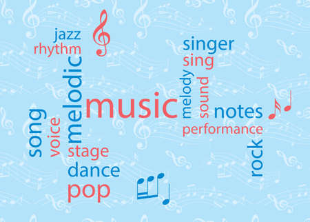 music colored word collage - blue and red vector background