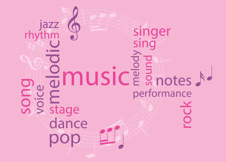 music colored word collage - pink vector background Vettoriali