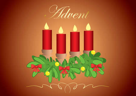 4 red advent candles on background with gradient - vector illustration Vettoriali