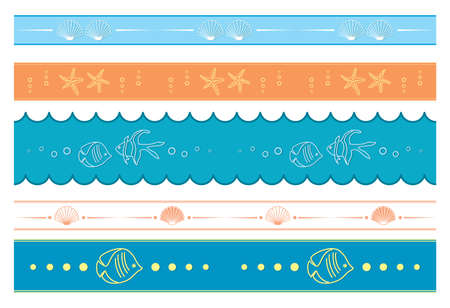 seamless borders with fishes and shells - vector ornaments