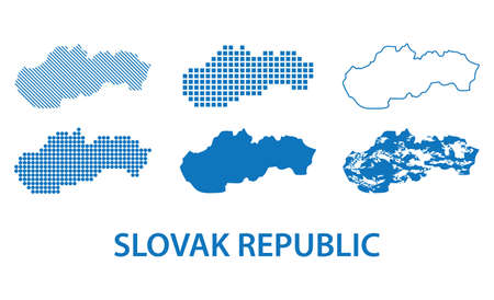 map of Slovak Republic - vector set of silhouettes in different patterns