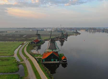 Rivers in the netherlands, mills, fields on the water, drone photo in Zaanse Schans