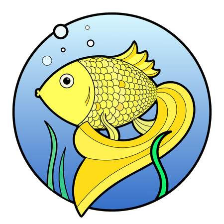 gold fish bowl: Vector golden fish in water
