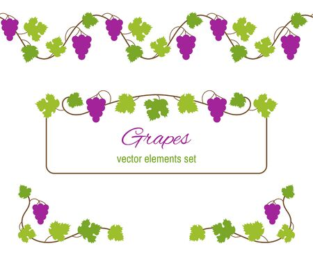 Set of grapes elements, borders and corners