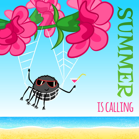 Summer is calling - vector funny cartoon illustration with pink flowers, spider and sea
