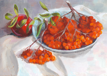 ashberry: Autumn still life with apple and rowan in plate on a background of white fabric - oil painting on canvas
