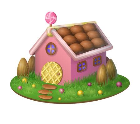 casita de dulces: casa del caramelo dulce - objeto aislado. Casa rosada en un prado con la cerca de almendras dulces de