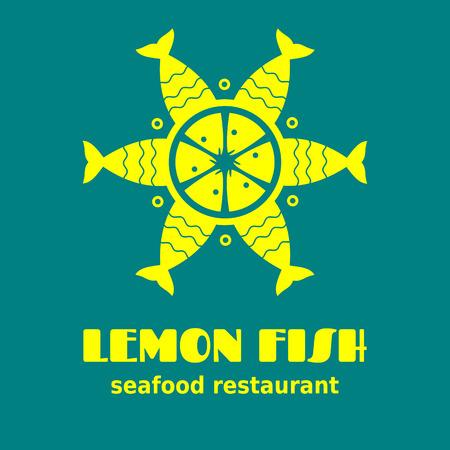 Lemon fish - logo for seafood cafe, restaurant or market