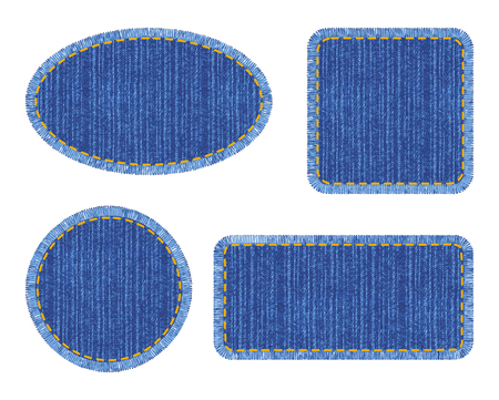 Set of blue denim patches with stitch. Different shapes with place for your text isolated on white background
