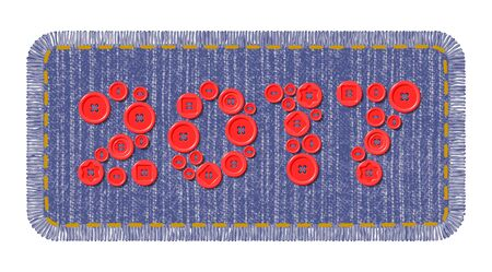 sewing buttons: Denim patch with red sewing buttons in the shape of 2017 year