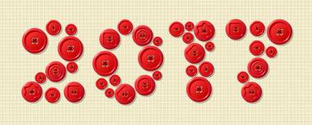 sewing buttons: 2017 made from red sewing buttons as a symbol of 2017 year on fabric texture