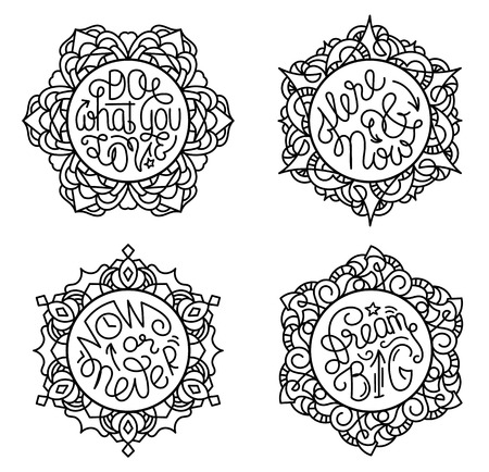 Motivational lettering phrases in round frames of stained glass. Inspiring quotes in circles. Do what you love. Now or never. Here and now. Dream big. Coloring page Stock fotó - 69115954